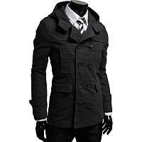 Стильный кашемировое тренч - пальто с капюшоном черн. Производства Украина