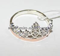 Кольцо серебро с золотом Диадема