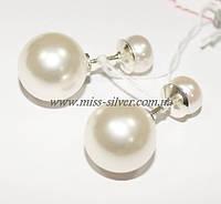 Серьги шары серебро Dior