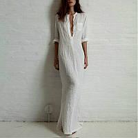 Платье рубаха льняное длинное, впол. Белое, бежевое, черное, бирюза