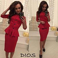 Элегантный женский костюм, баста+юбка, ткань дайвинг, цвет красный