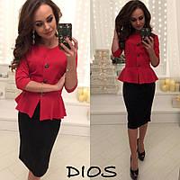 Элегантный женский костюм, баста+юбка, ткань дайвинг, цвет красный+черный
