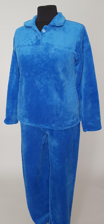 фотография женская пижама голубого цвета с отложным воротником