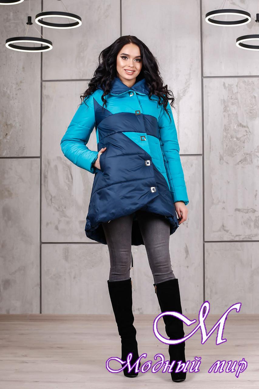 Зимняя женская куртка в синих оттенках батал (р. 42-54) арт. 992 Тон 2