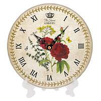 Часы круглые с принтом Красная роза