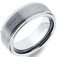 Кольцо американка из карбида вольфрама серебристого цвета