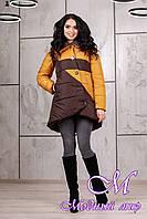 Зимняя женская двухцветная куртка батал (р.42-54) арт. 992 Тон 16