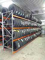 Стеллаж разборной однорядный 2500х1840х500 на 4 яруса для гаража СТО шиномонтажа при хранении шин колес