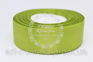Лента репсовая 2,5 см, зеленая травяная
