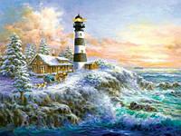 Алмазная вышивка Солнечный маяк у моря KLN 30*40 см (арт. FS332)