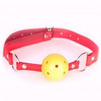 Кляп желтый шарик красный ремень BALL GAG