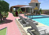 3D проект туристического комплекса с бассейном и детскими площадками