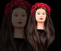 Учебная голова манекен для причесок и плетения 100% натуральных волос, 75-80 см, темный шатен