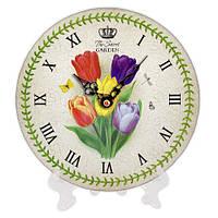 Часы круглые с принтом Тюльпаны 18 см