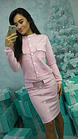 Красивый женский костюм, кофта+юбка декорирован пуговицами, цвет розовый
