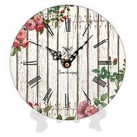 Часы круглые с принтом Цветы в саду