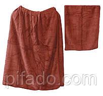 Полотенце для сауны на липучке+полотенце (мужское) 75х145. Модель Y-3