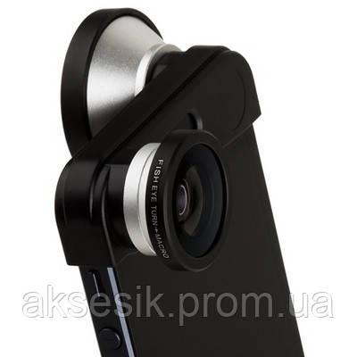 Универсальные линзы 3 в 1 для iPhone 5 FWM-5 чёрно-серебряные