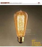 Витажные Лампы Накаливания 40 Вт, золотая снежинка,Ретро стиль,лампочка Эдисона,Теплый золотистый цв