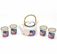 """Набор Iwaki """"Гейша с зонтиком"""" для чайной церемонии, 5 предметов на 4 персоны"""