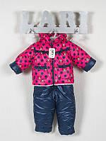 Зимний полукомбинезон и куртка для девочки в горохи