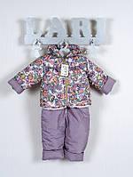 Зимний полукомбинезон и куртка для девочки в цветы
