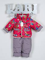 Зимний полукомбинезон и куртка для девочки с совами, фото 1
