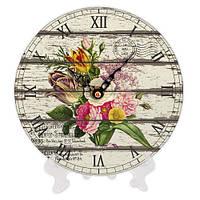 Часы из дерева с принтом Букет 18 см