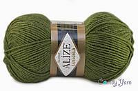 Турецкая пряжа Alize Lanagold полушерсть оливка зеленая №214