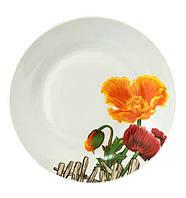 """Набор 6 мелких тарелок """"Оранжевый мак"""" Ø20см, керамика"""