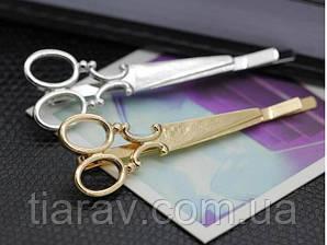 Заколка ножницы золотые для волос невидимка  Тиара