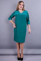 Эвелин. Стильное платье больших размеров. Изумруд. 50