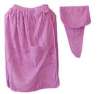 Полотенце для сауны на липучке+шапочка (женское) 75х145. Модель Y-4