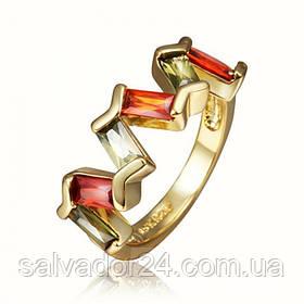 Женское кольцо 18К позолота, фианиты  17,5 размер