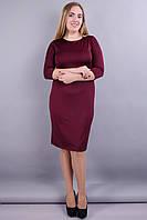 Модное повседневное  платье Арина от производителя из трикотажа масло. Платье супер батал. Бордо.