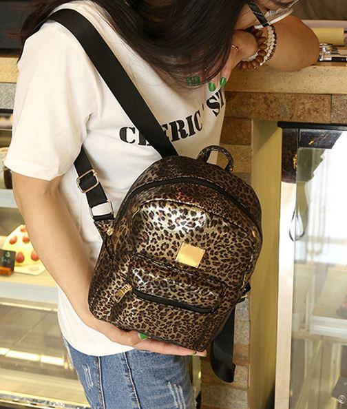 Мини рюкзак леопардовый.
