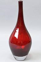 Ваза стеклянная Monophonic Elongated vessel 31см Красная