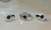 Гарнитур из серебра 925 пробы с накладками золота 375 пробы -Сияние