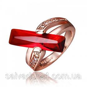 Женское кольцо 18К позолота, цирконы  18 размер