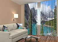 """ФотоШторы """"Озеро в горах"""" 2,5м*2,0м (2 полотна по 1,0м),тесьма"""
