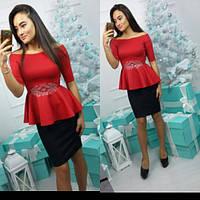 Красивый женский костюм, блуза+юбка, пояс декорирован стразами, цвет красный, фиолет