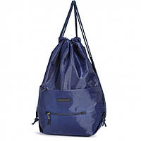 Рюкзак сумка для сменки на шнурке синий городской спереди два кармана на молниях Dolly 834, фото 1
