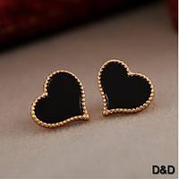 """Серьги """"Сердце"""" черные, фото 1"""