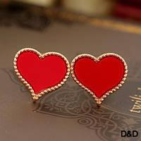 """Серьги """"Сердце"""" красные"""
