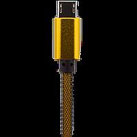 Кабель USB - micro USB  1м G (метал. плетение)  золотой / Retail