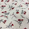 Ткань с мелкими красными гвоздичками, цветочками на белом фоне, бязь, хлопок