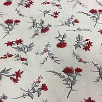 Ткань с мелкими красными гвоздичками, цветочками на белом фоне, бязь, хлопок, фото 1