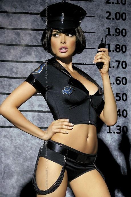 Эротический игровой костюм полицейской | эротическое белье Obsessive Police set S/M Черный