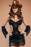 Эротический костюм шерифа Obsessive Sheriffia Черный