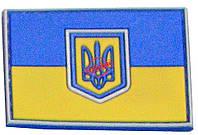 Шеврон ПВХ Флаг Украины с тризубом 7х5 см (Желто-синий, черно-красный, зелено-черный), фото 1